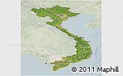 Satellite Panoramic Map of Vietnam, lighten