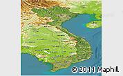 Satellite Panoramic Map of Vietnam, physical outside, satellite sea