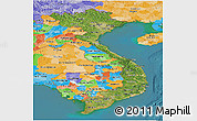 Satellite Panoramic Map of Vietnam, political outside, satellite sea