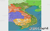 Satellite Panoramic Map of Vietnam, political shades outside, satellite sea