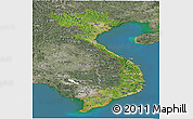 Satellite Panoramic Map of Vietnam, semi-desaturated, land only