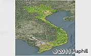 Satellite Panoramic Map of Vietnam, semi-desaturated
