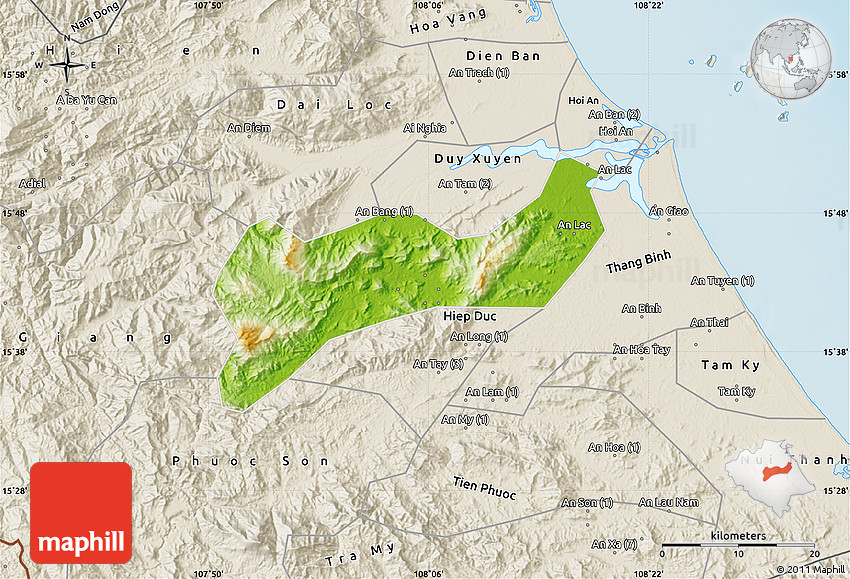 Mountains In Vietnam Map.Physical Map Of Que Son Shaded Relief Outside