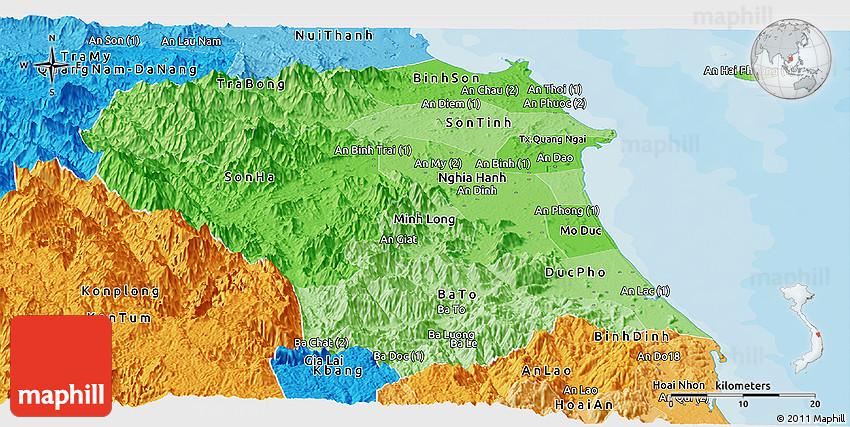 Quang Ngai Vietnam Map.Political Shades Panoramic Map Of Quang Ngai