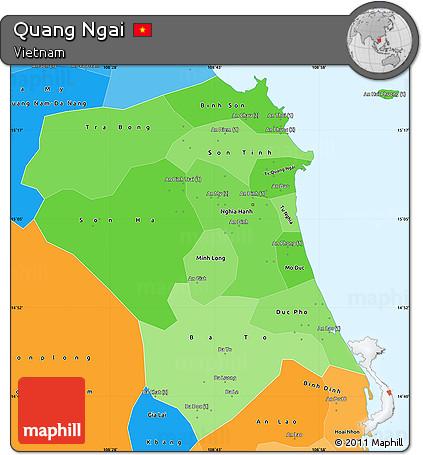 Quang Ngai Vietnam Map.Free Political Shades Simple Map Of Quang Ngai