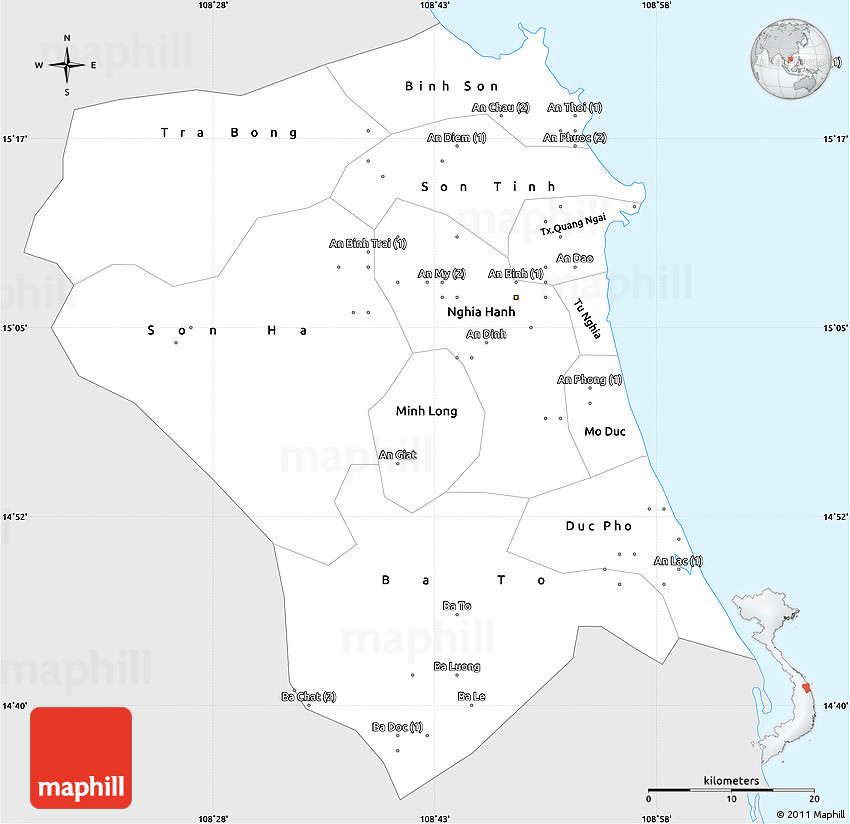 Quang Ngai Vietnam Map.Silver Style Simple Map Of Quang Ngai Single Color Outside