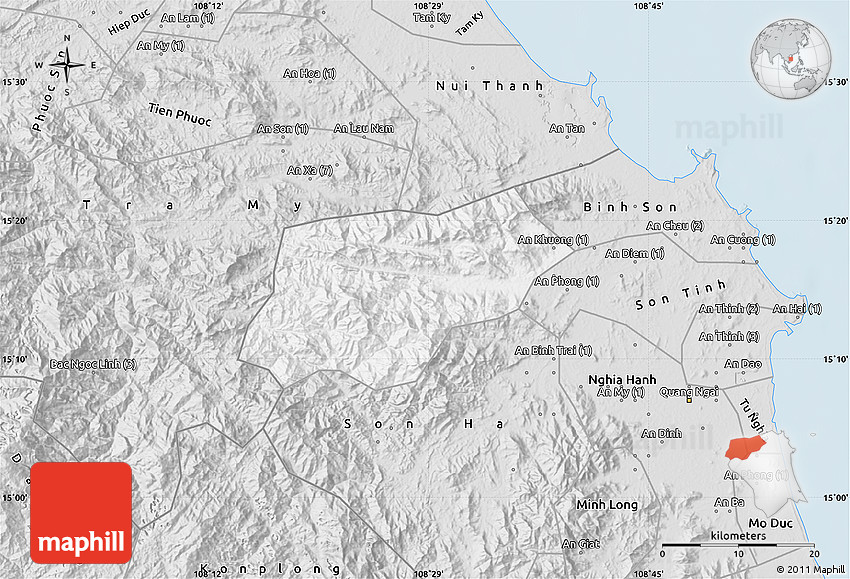 Quang Ngai Vietnam Map.Silver Style Map Of Tra Bong