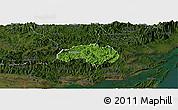 Satellite Panoramic Map of Ba Che, darken