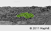 Satellite Panoramic Map of Ba Che, desaturated