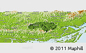 Satellite Panoramic Map of Ba Che, physical outside