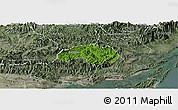 Satellite Panoramic Map of Ba Che, semi-desaturated