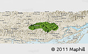 Satellite Panoramic Map of Ba Che, shaded relief outside