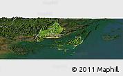 Satellite Panoramic Map of Cam Pha Town, darken