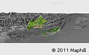 Satellite Panoramic Map of Cam Pha Town, desaturated