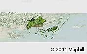 Satellite Panoramic Map of Cam Pha Town, lighten