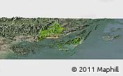 Satellite Panoramic Map of Cam Pha Town, semi-desaturated