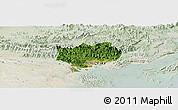 Satellite Panoramic Map of Hoanh Bo, lighten