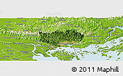 Satellite Panoramic Map of Hoanh Bo, physical outside