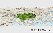 Satellite Panoramic Map of Hoanh Bo, shaded relief outside