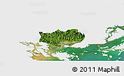 Satellite Panoramic Map of Hoanh Bo, single color outside