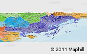 Political Shades Panoramic Map of Quang Ninh