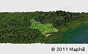 Satellite Panoramic Map of Tien Yen, darken