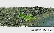 Satellite Panoramic Map of Tien Yen, semi-desaturated