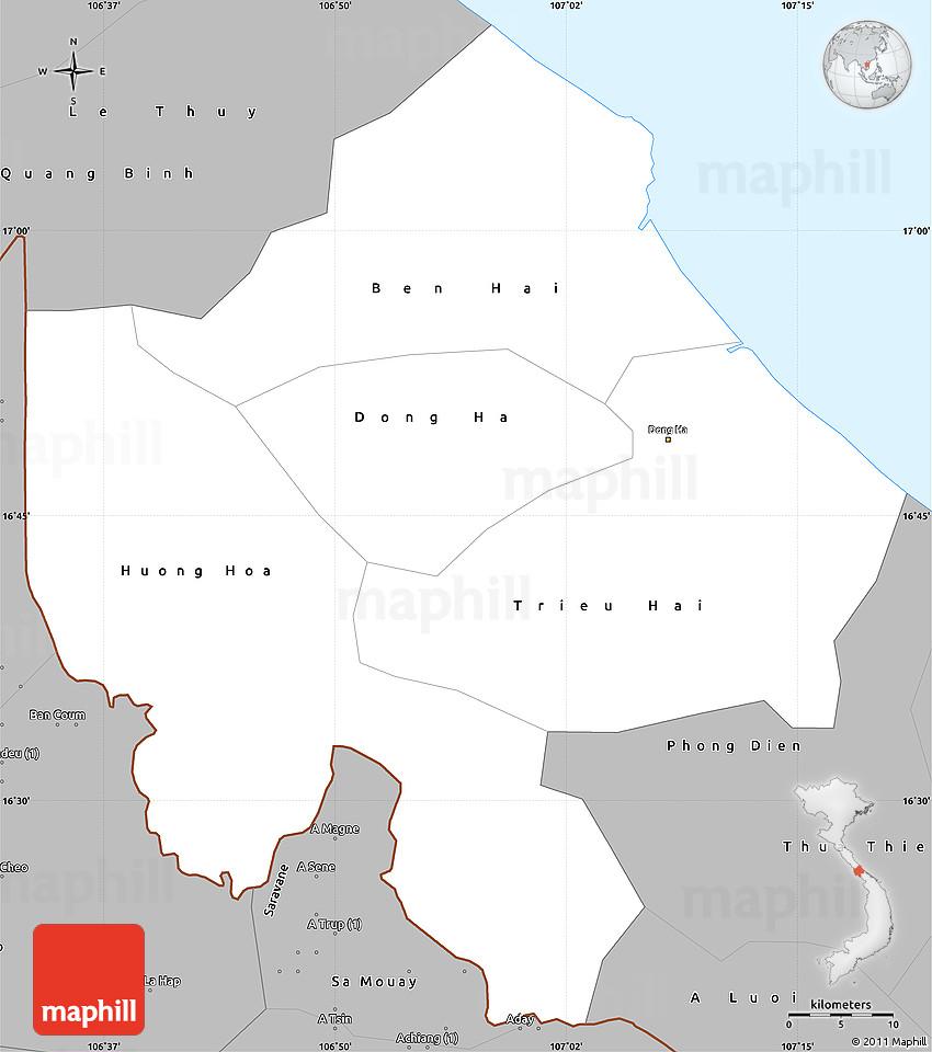 Gray Simple Map Of Quang Tri