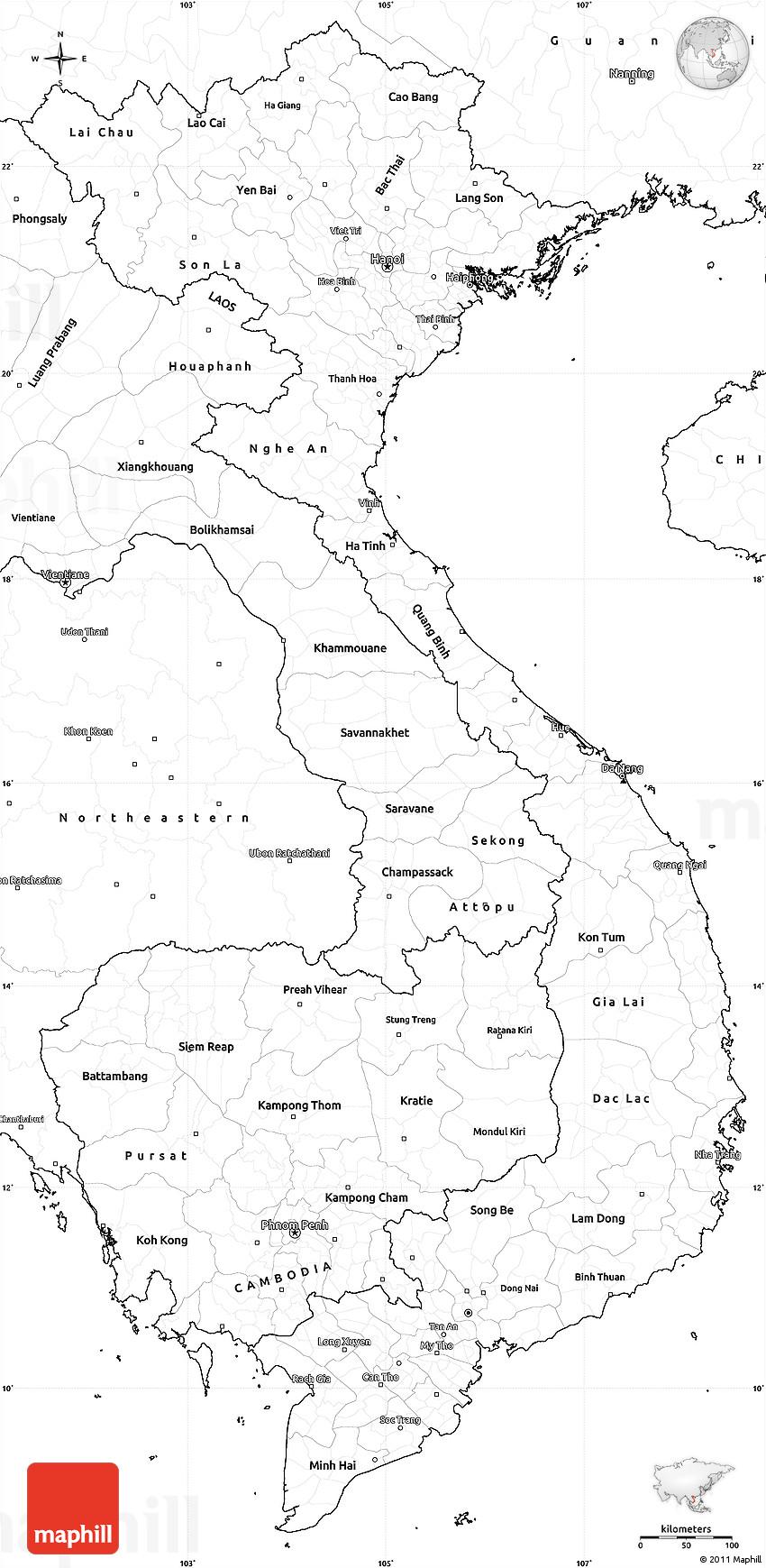 Blank Simple Map of Vietnam