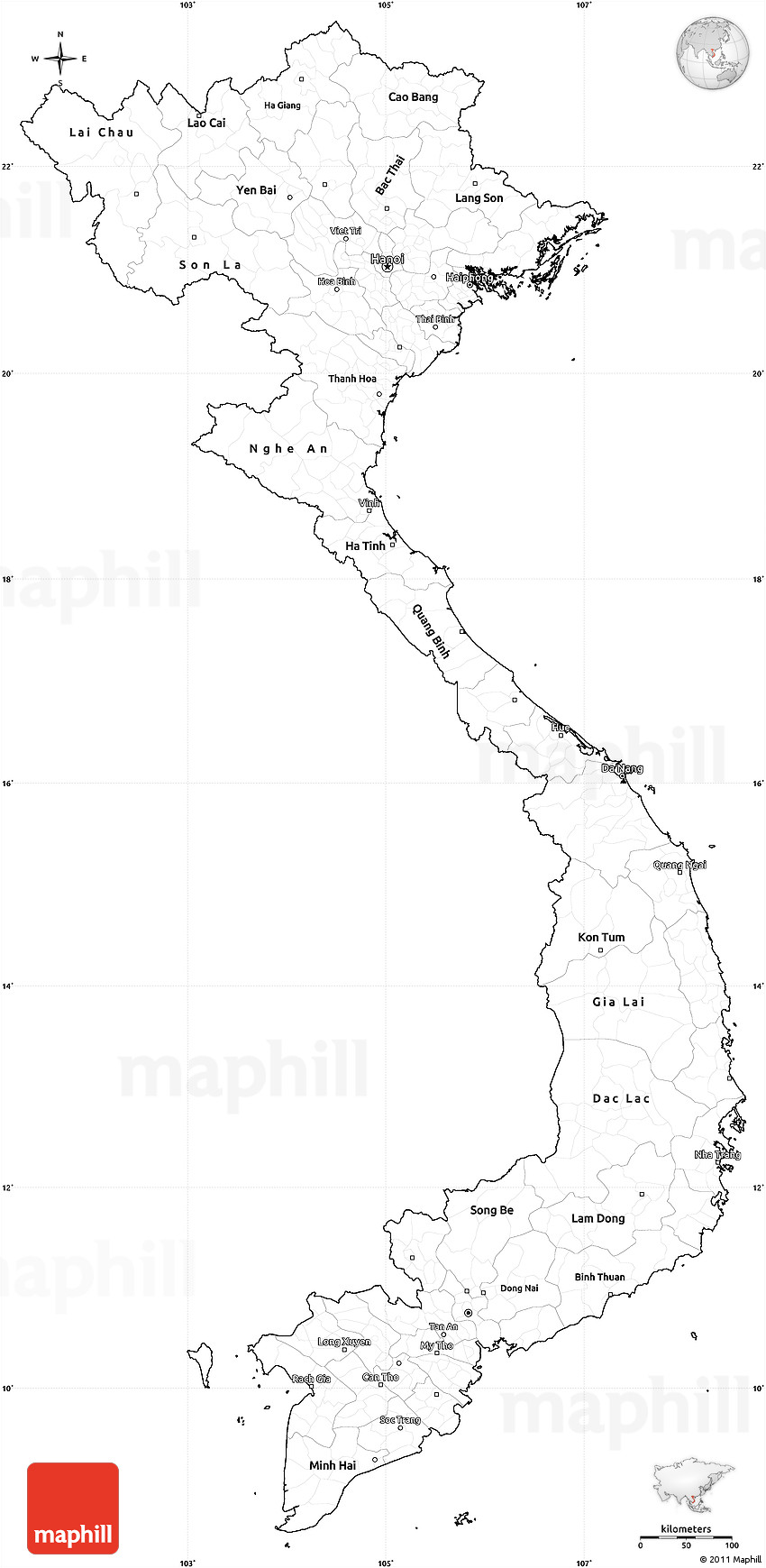 Blank Simple Map Of Vietnam Cropped Outside - Vietnam map outline