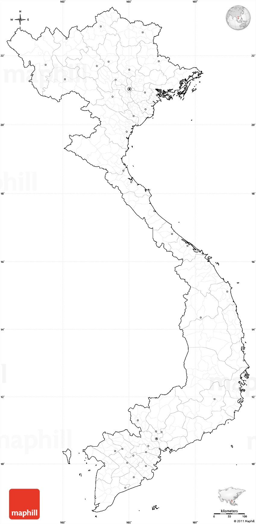 blank simple map of vietnam  cropped outside  no labels