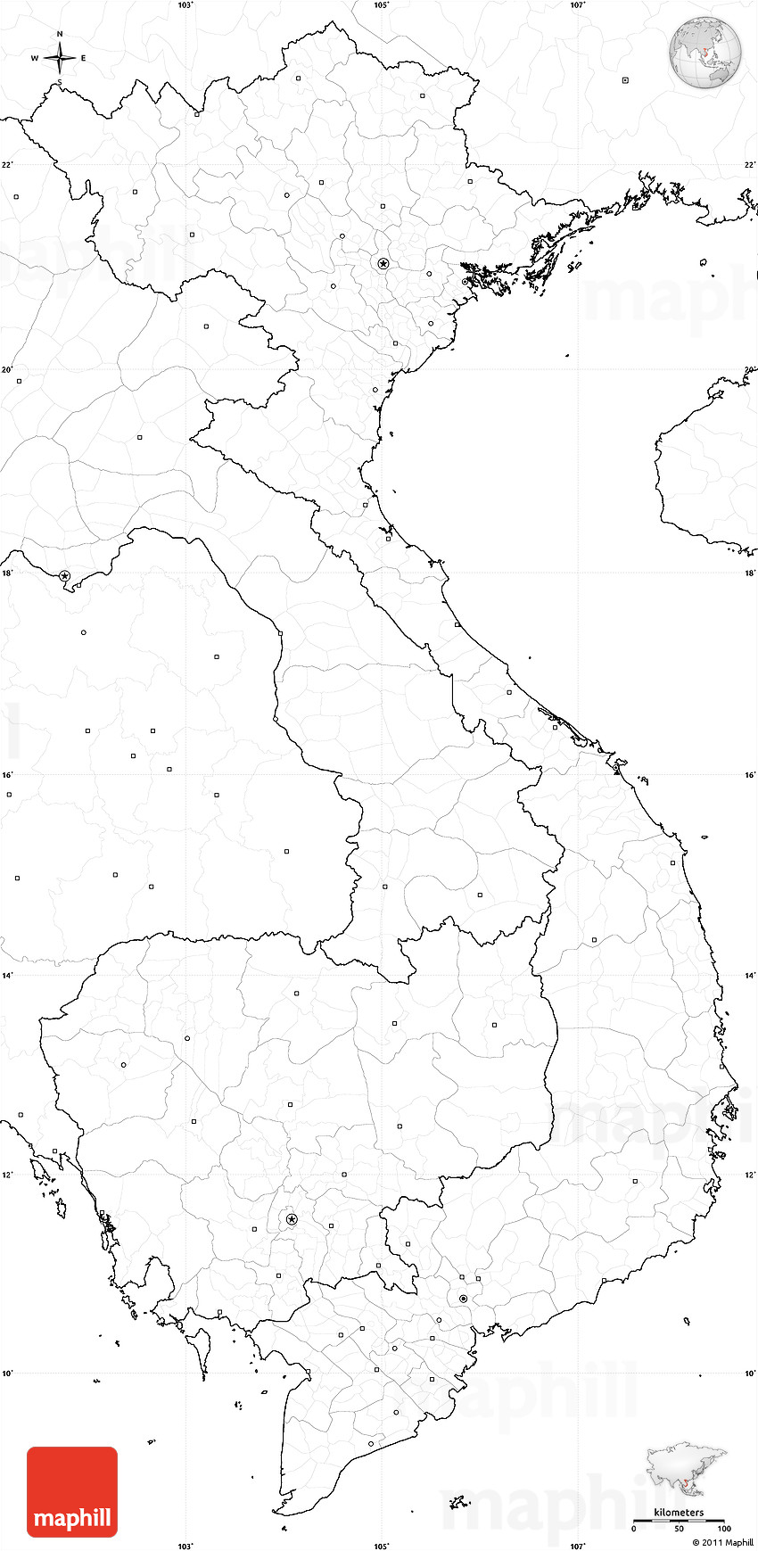 Blank Simple Map Of Vietnam, No Labels