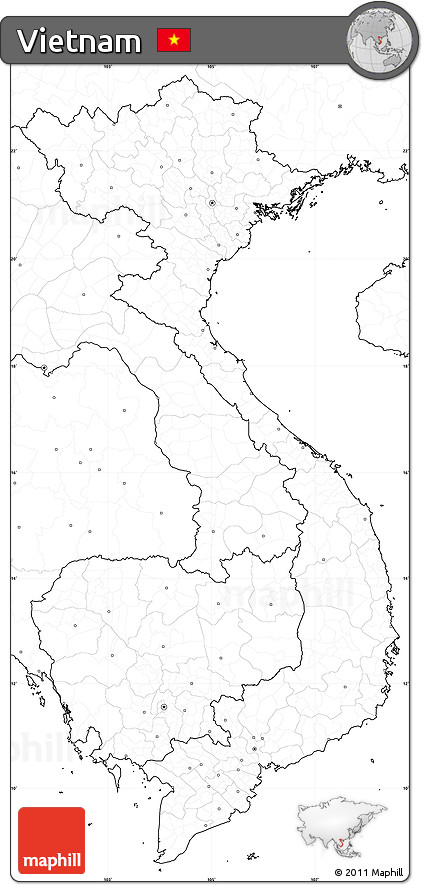 Free Blank Simple Map of Vietnam, no labels