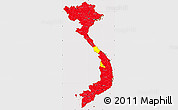 Flag Simple Map of Vietnam, flag aligned to the middle