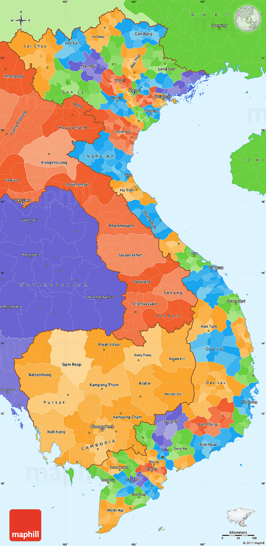 Political Simple Map Of Vietnam Political Shades Outside - Map of vietnam