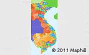 Political Simple Map of Vietnam, political shades outside