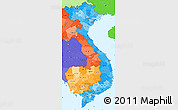 Political Shades Simple Map of Vietnam