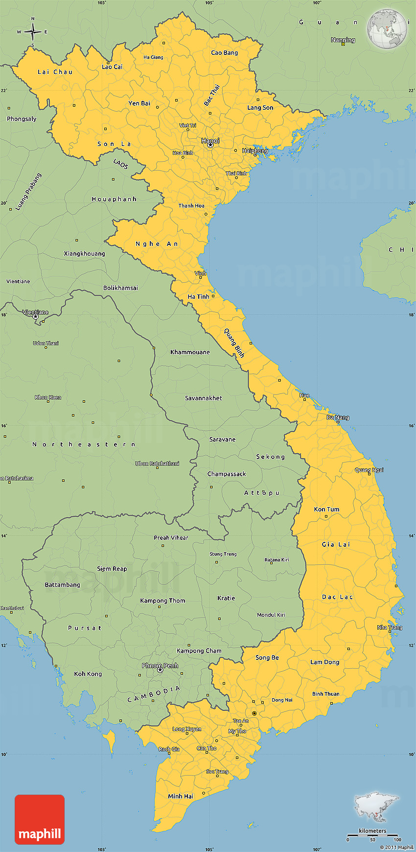 Picture of: Savanna Style Simple Map Of Vietnam