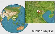 Satellite Location Map of Moc Chau, highlighted parent region