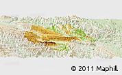 Physical Panoramic Map of Moc Chau, lighten