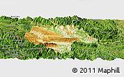 Physical Panoramic Map of Moc Chau, satellite outside