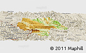 Physical Panoramic Map of Moc Chau, shaded relief outside
