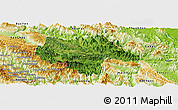 Satellite Panoramic Map of Moc Chau, physical outside