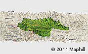 Satellite Panoramic Map of Moc Chau, shaded relief outside