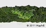 Satellite Panoramic Map of Muong La, darken