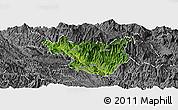 Satellite Panoramic Map of Muong La, desaturated