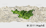 Satellite Panoramic Map of Muong La, shaded relief outside