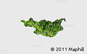 Satellite Panoramic Map of Muong La, single color outside