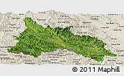 Satellite Panoramic Map of Son La, shaded relief outside