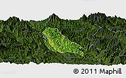 Satellite Panoramic Map of Quynh Nhai, darken